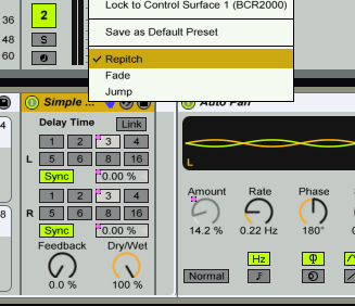 ableton set delay repitch